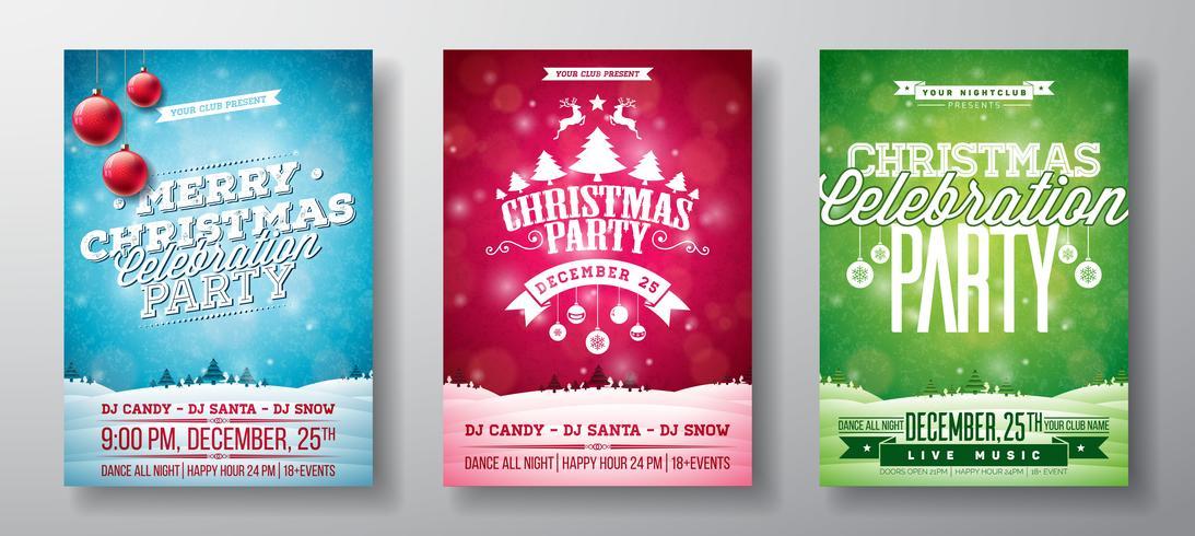 Ilustrações de Flyer de festa de Natal feliz vetor