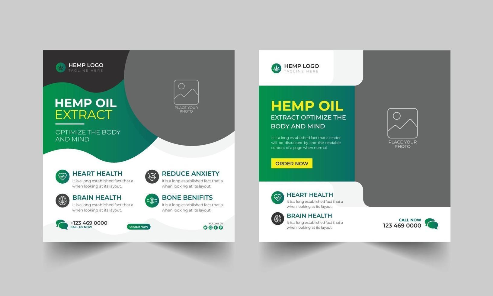 design de modelo de postagem de mídia social de óleo de cânhamo e óleo de cbd vetor