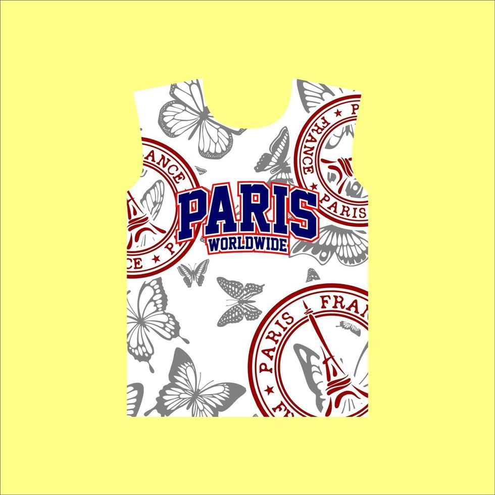 paris em todo o mundo design de camisetas com padrão borboleta vetor