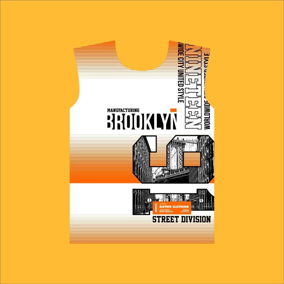 design de camiseta estilo rua brooklyn 91 vetor