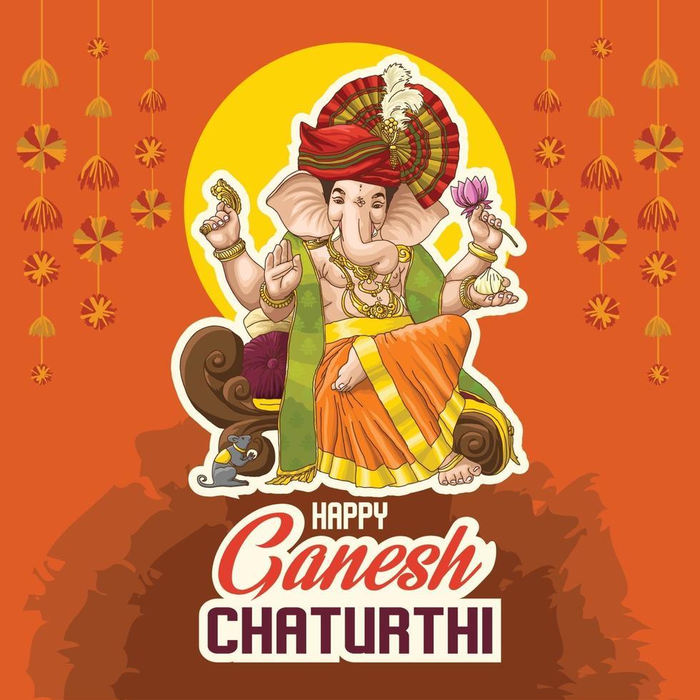 ilustração do senhor ganpati para o festival ganesh chaturthi da índia vetor