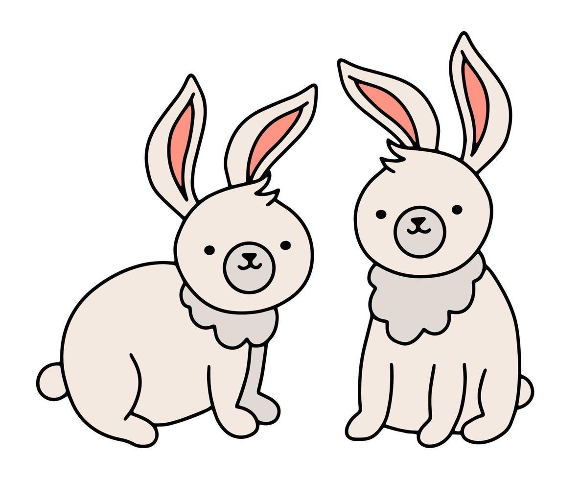 coelhos bonitos ou coelhinhos em estilo doodle. vetor