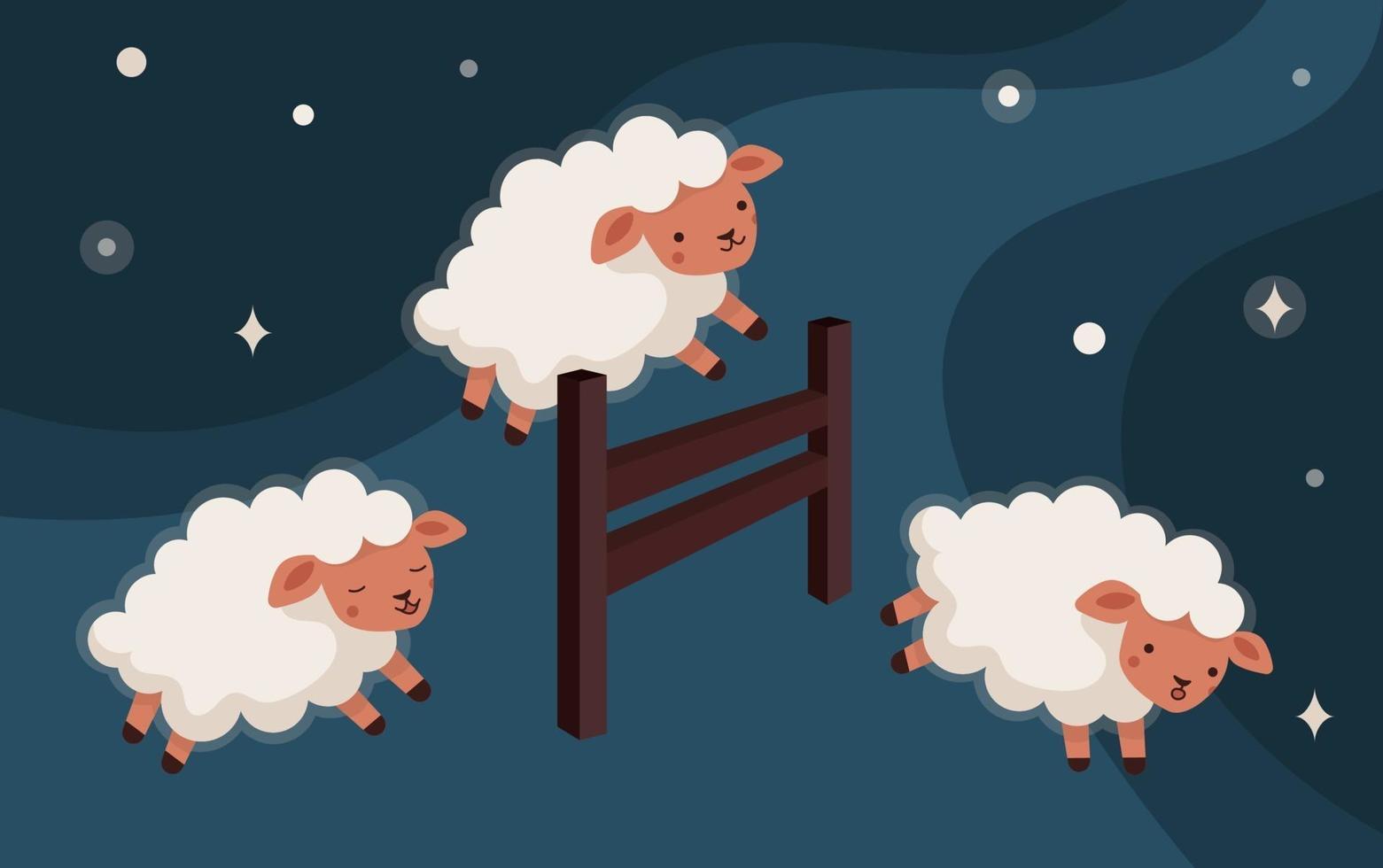 contagem de ovelhas pular a cerca vetor