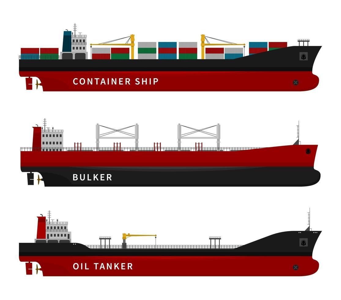 petroleiro, navio porta-contentores, conjunto isolado de graneleiro. vetor