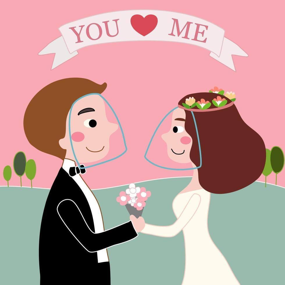 noiva e noivo amam em casamento cobiçoso no jardim vetor