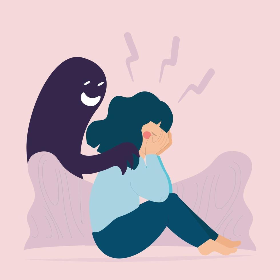 mulher deprimida sofre de delírios de esquizofrenia. saúde mental. vetor