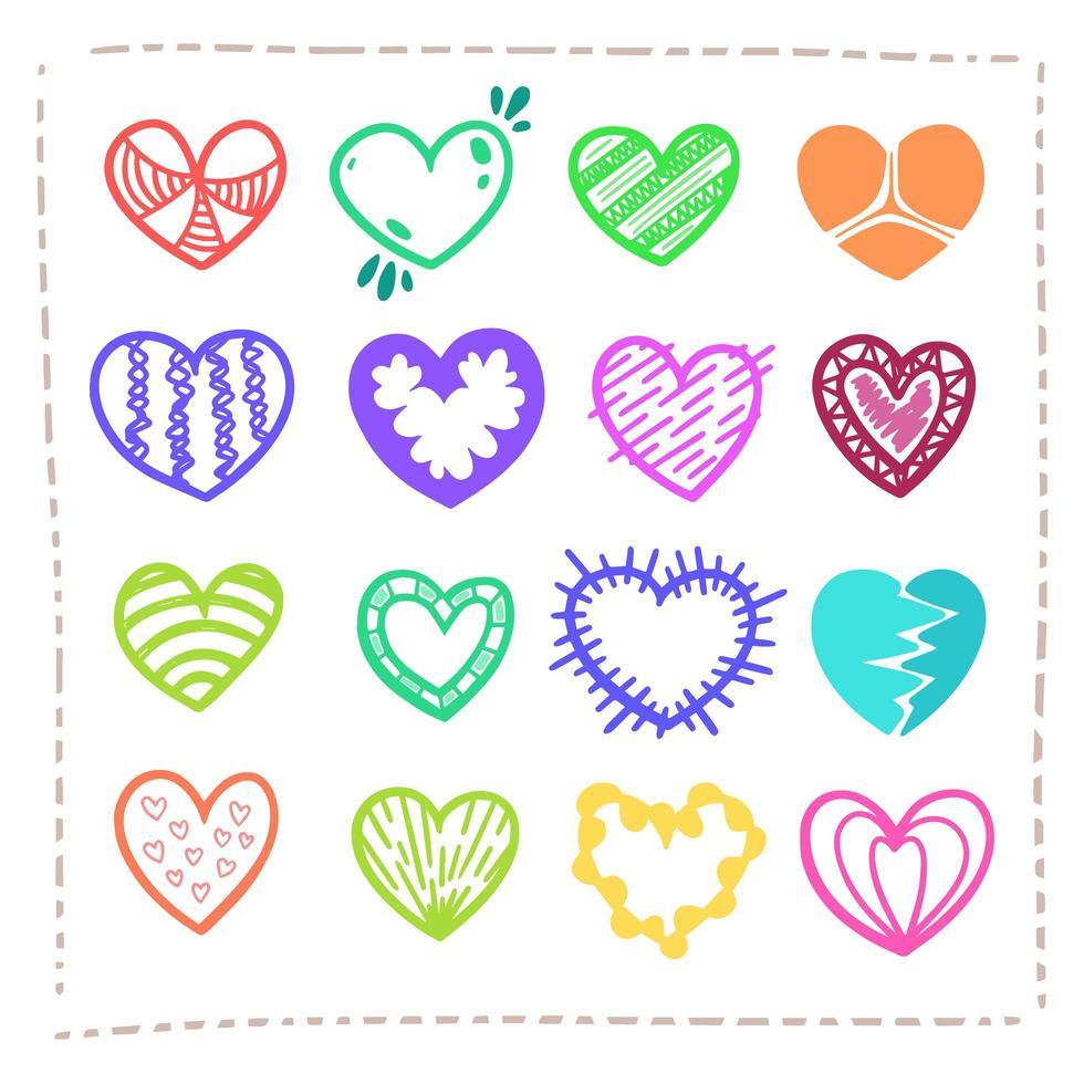 mão desenhada incrível vetor de corações coloridos