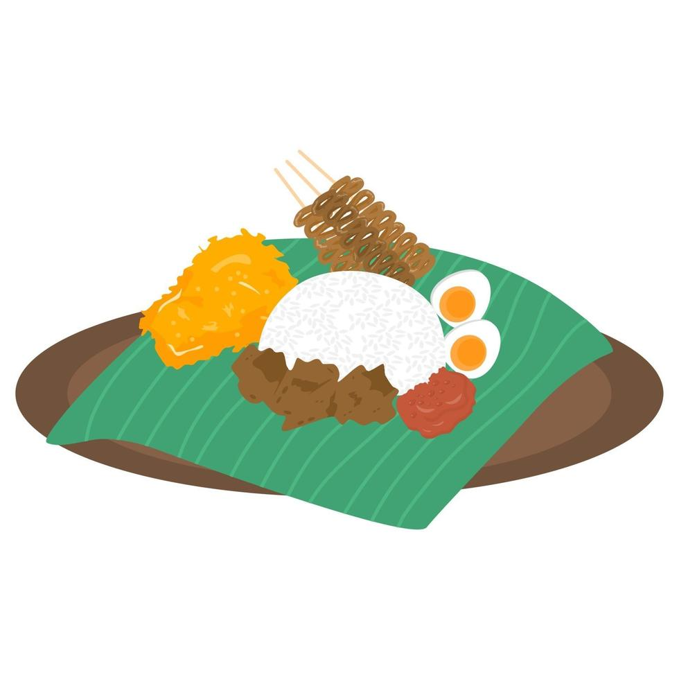 nasi uduk, prato de arroz cozido no vapor com sabor de coco vetor
