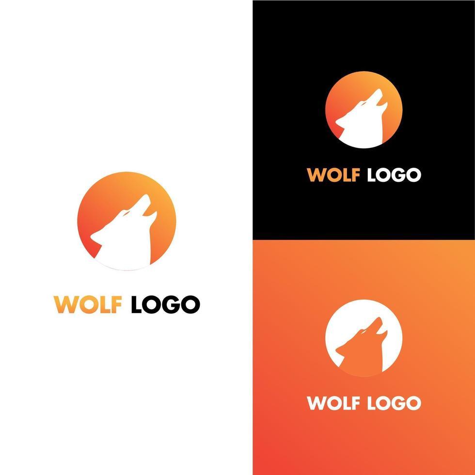 conceito moderno de design de logotipo de lobo, em modelo de ícone de forma de círculo vetor