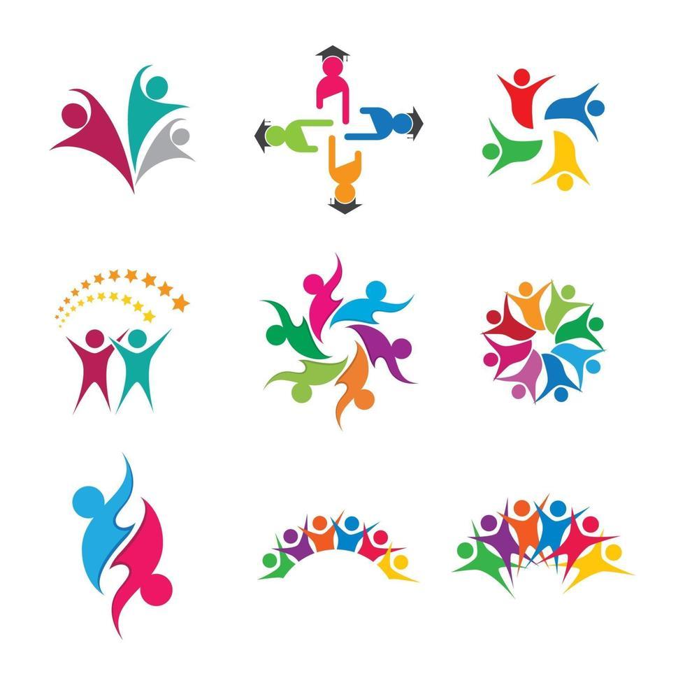 design de imagens de logotipo de cuidado comunitário vetor