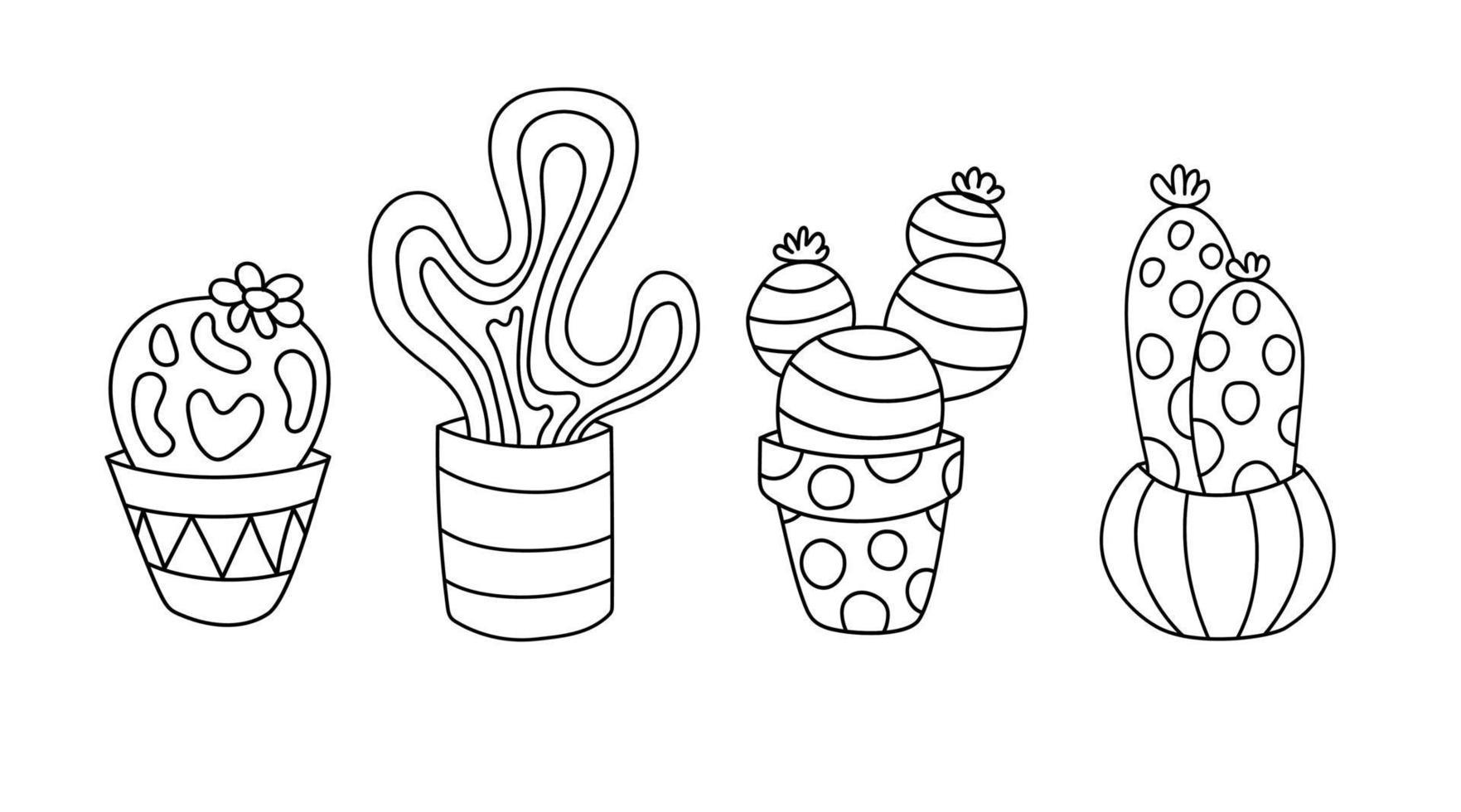 ilustração de doodle de linha de cacto isolado fofo vetor