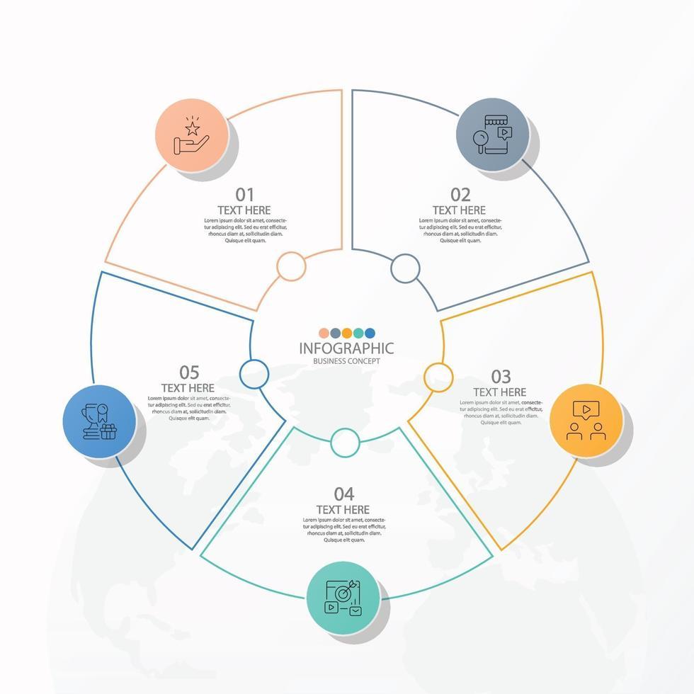 modelo de infográfico de círculo básico com 5 etapas vetor