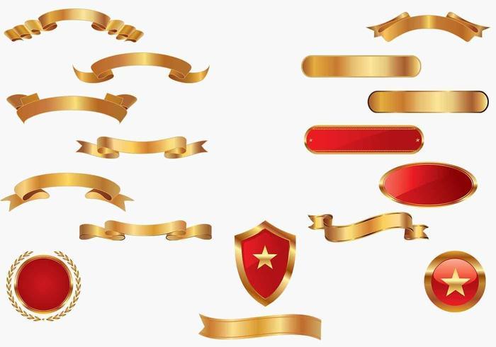 Pacote de vetores Golden Banners