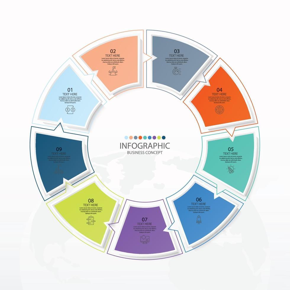 modelo de infográfico de círculo básico com 9 etapas vetor