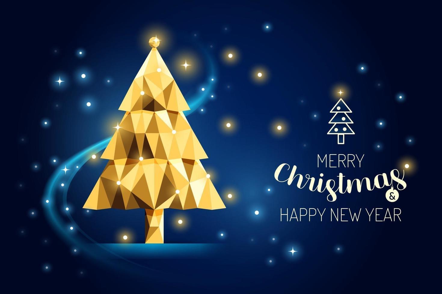 projeto de conceito de geometria de ouro de luxo de árvore de feliz Natal wireframe. vetor
