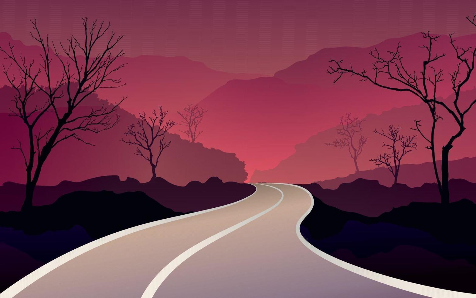 a estrada que se estende pelas montanhas vetor