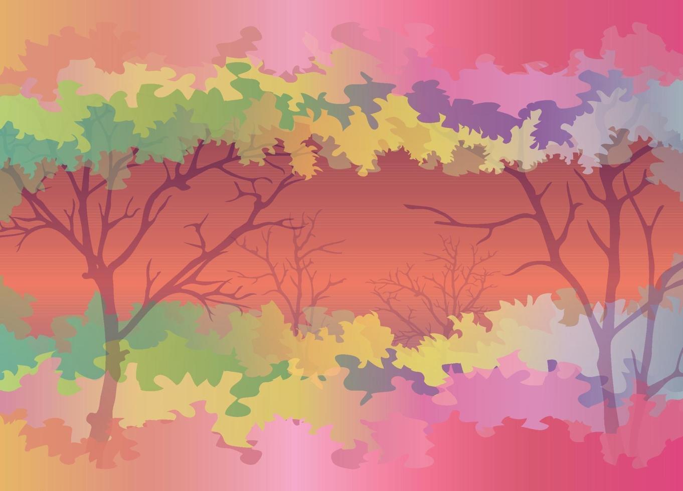 floresta colorida de fundo na temporada vetor