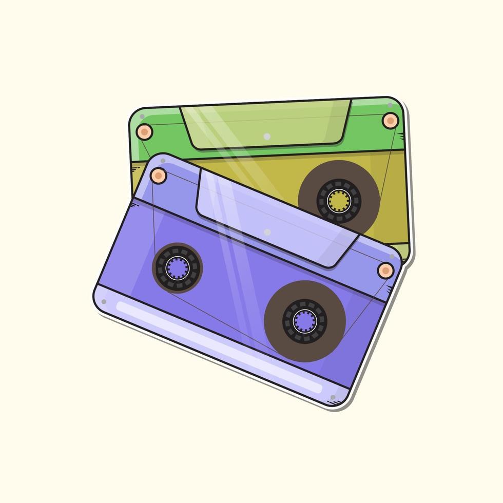 retro music tapes logo premium vector