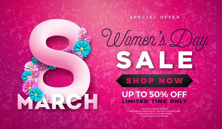 Design de venda do dia das mulheres vetor