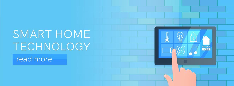 Bandeira de tecnologia para casa inteligente. Tela digital na parede. Vetorial, caricatura, ilustração vetor