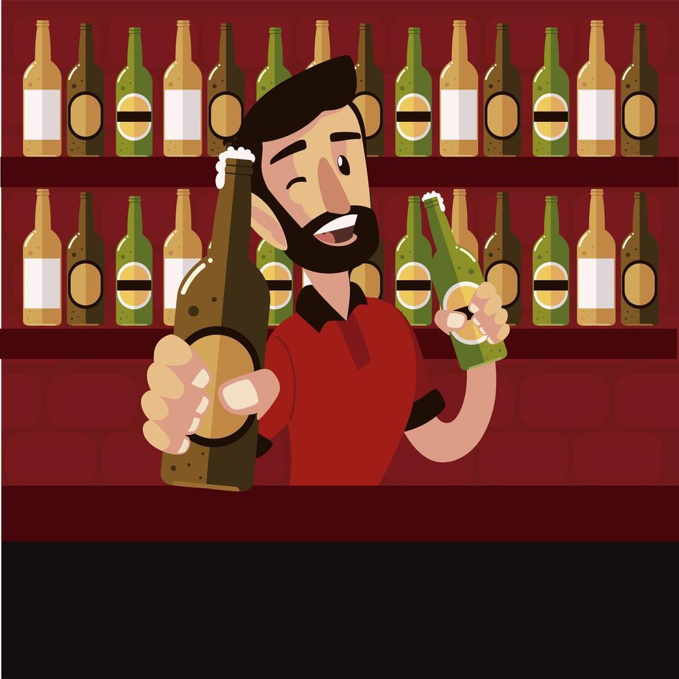 barman sorridente segurando garrafas de cerveja no balcão vetor
