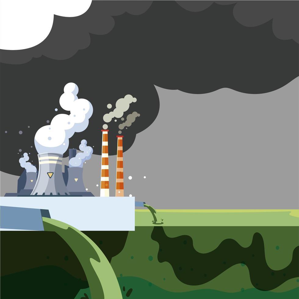 contaminação ambiental pela fábrica, emissão de resíduos para a água do rio vetor