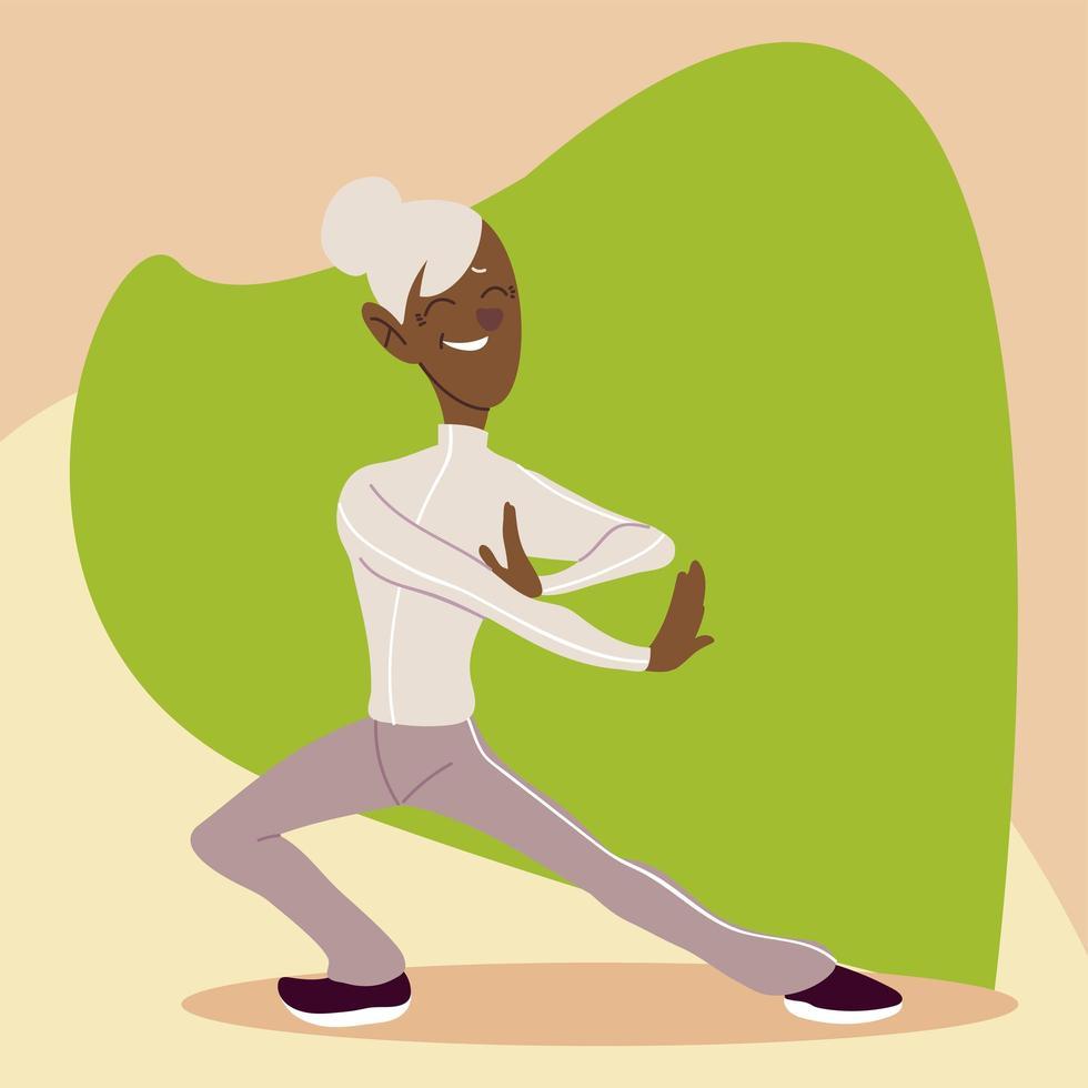 idosos ativos e felizes praticando ioga vetor
