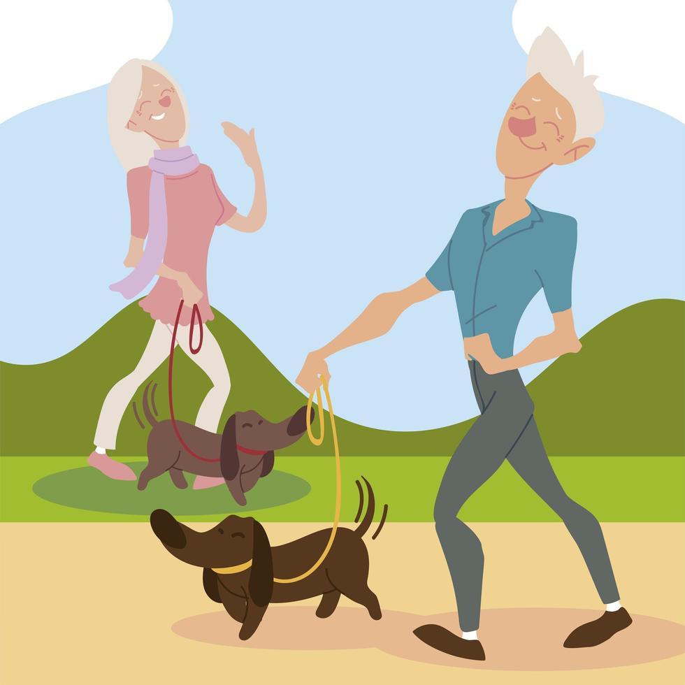 idosos ativos, velho e mulher passeando com cachorros vetor