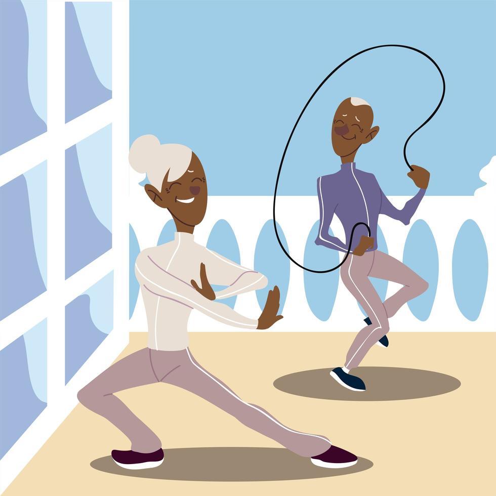 idosos ativos, velho praticando pular corda e mulher madura vetor