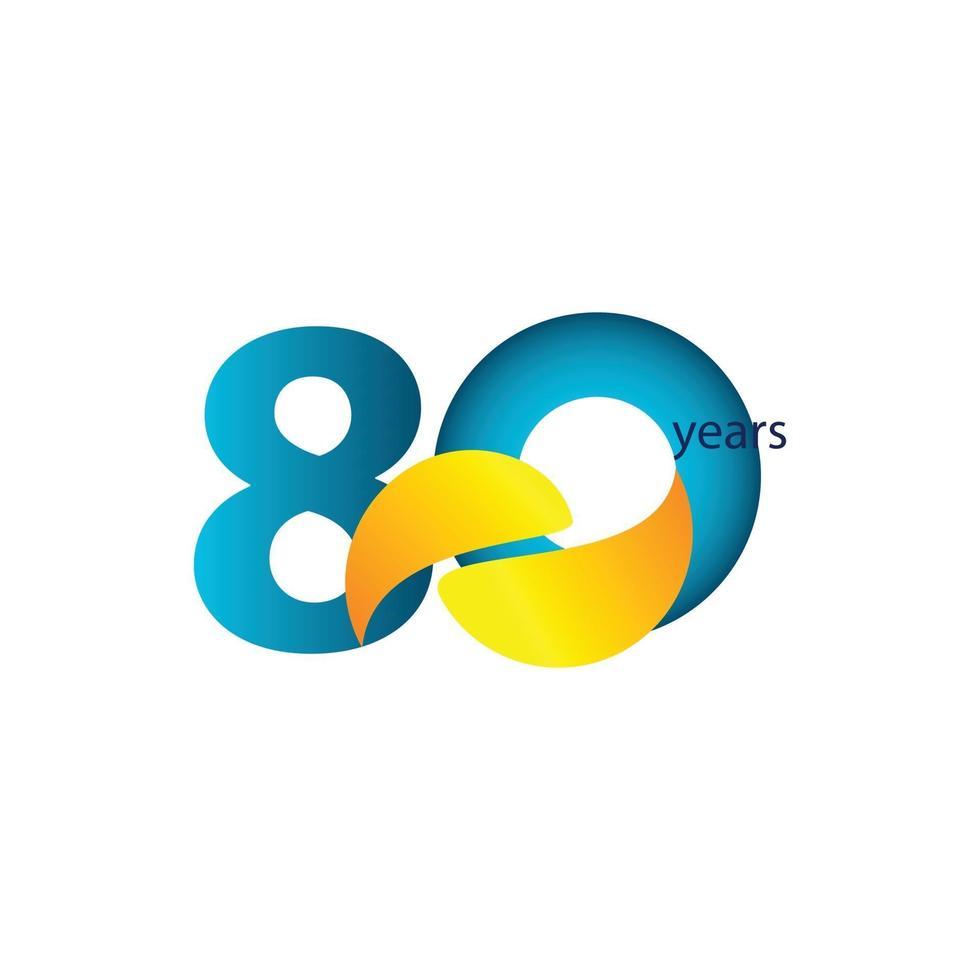 Ilustração de design de modelo vetorial celebração de aniversário de 80 anos vetor