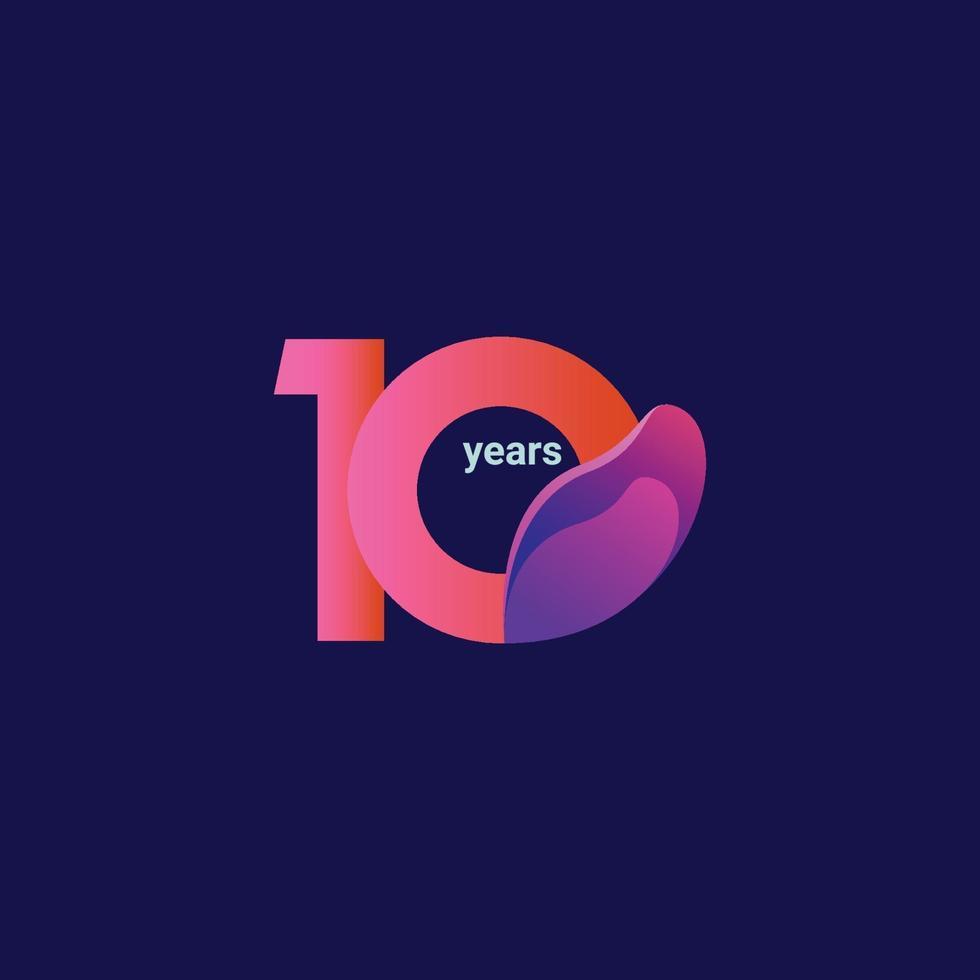 Ilustração de design de modelo vetorial celebração de aniversário de 10 anos vetor
