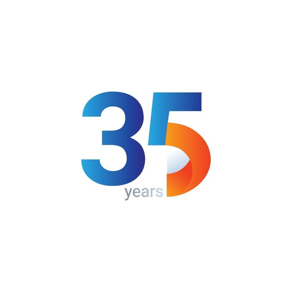 Ilustração de design de modelo vetorial celebração de aniversário de 35 anos vetor