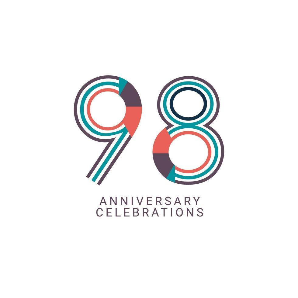 Ilustração de design de modelo vetorial celebração de aniversário de 98 anos vetor