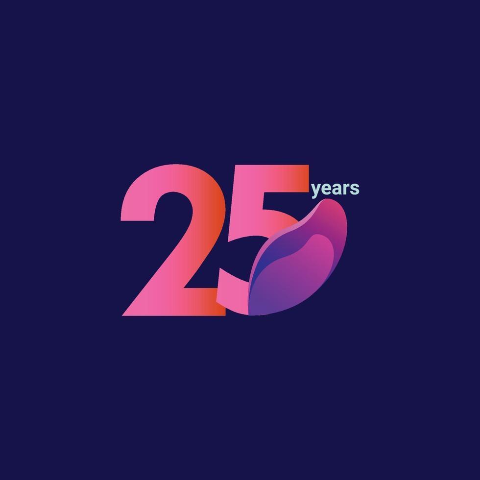 Ilustração de design de modelo vetorial 25 anos de celebração vetor