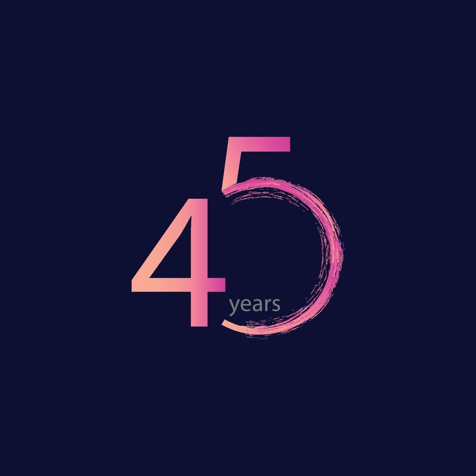Ilustração de design de modelo vetorial celebração de aniversário de 45 anos vetor