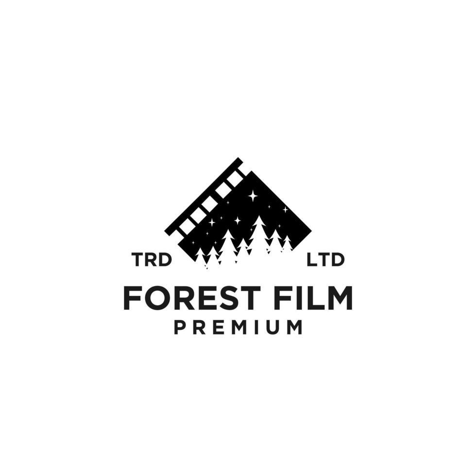filme de floresta de pinheiros premium design de ícone de logotipo preto de vetor