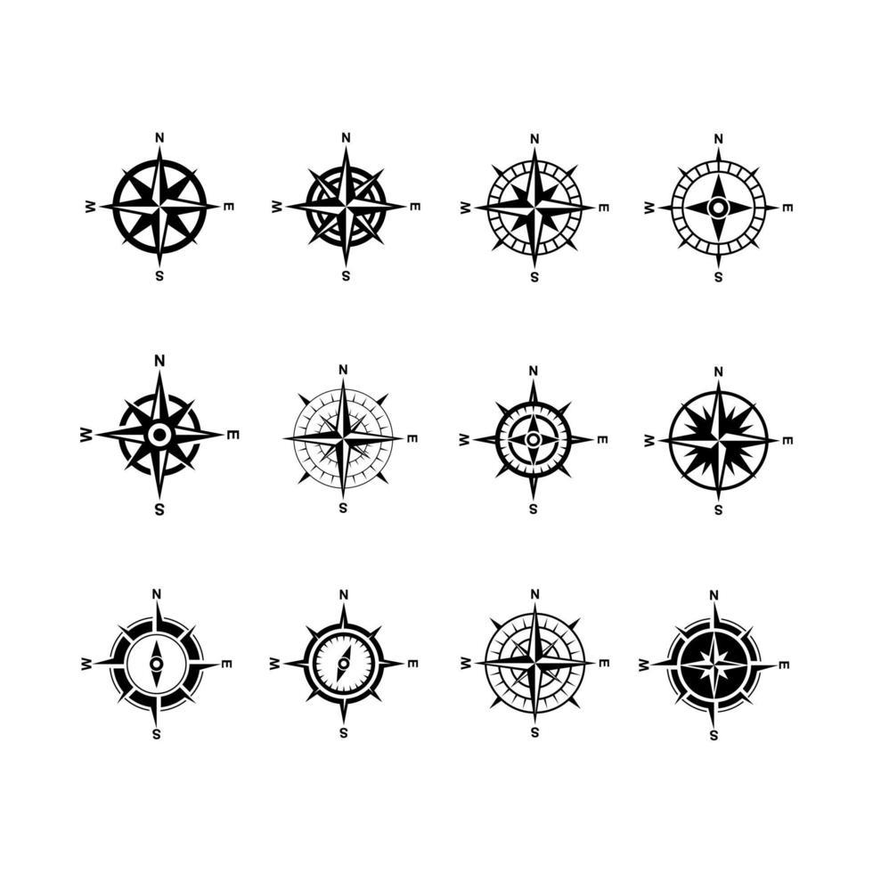 definir coleção premium bússola vector logo ícone preto design