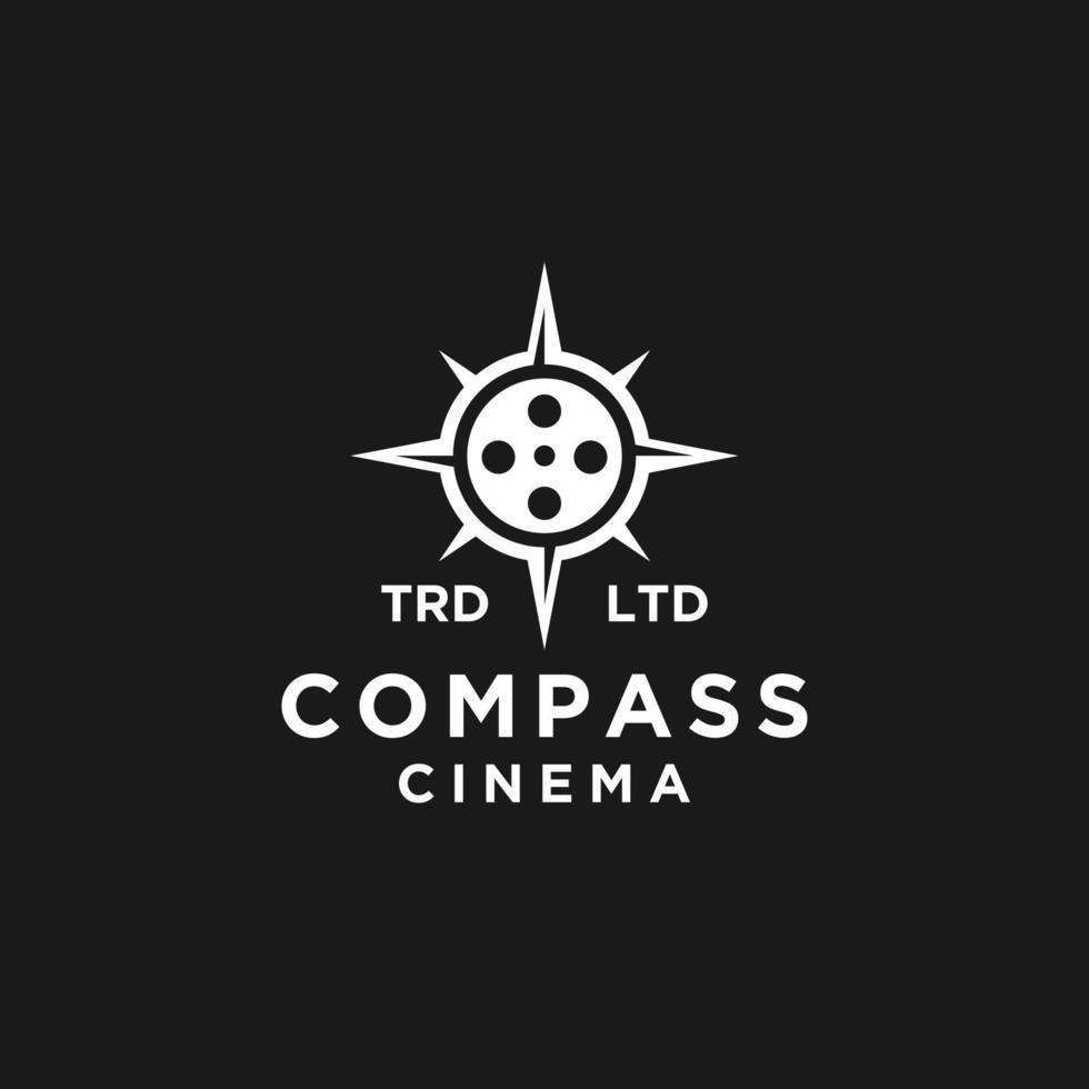 bússola premium filme de aventura vector design de logotipo preto