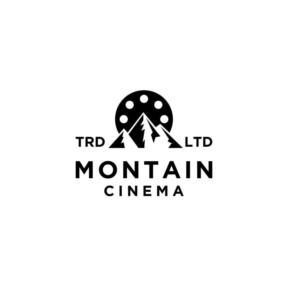 ícone de logotipo preto de vetor de filme de montanha de aventura premium