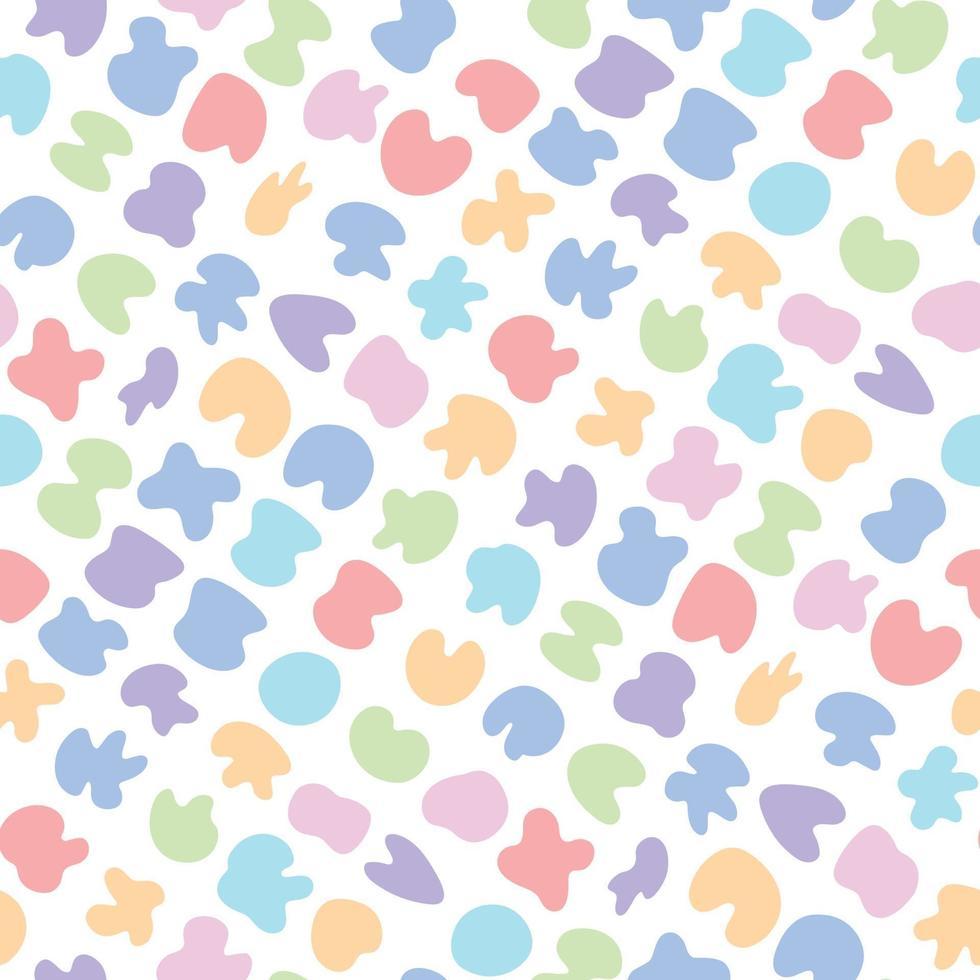 fofo brilhante infantil padrão sem emenda com manchas coloridas em tons pastel vetor