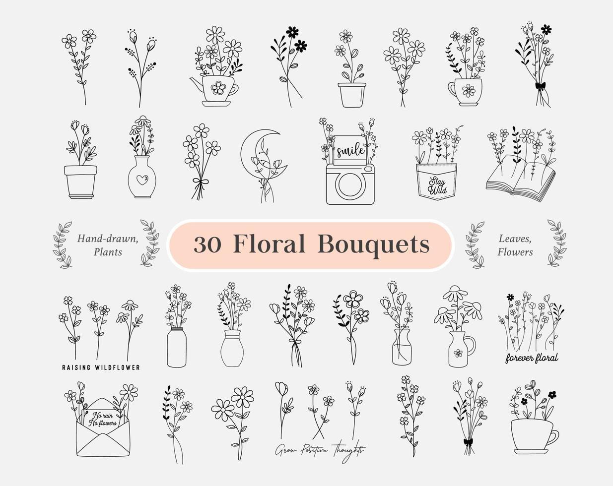 Pacote de 30 buquês de flores. flores desenhadas à mão, minimalistas, flores silvestres vetor