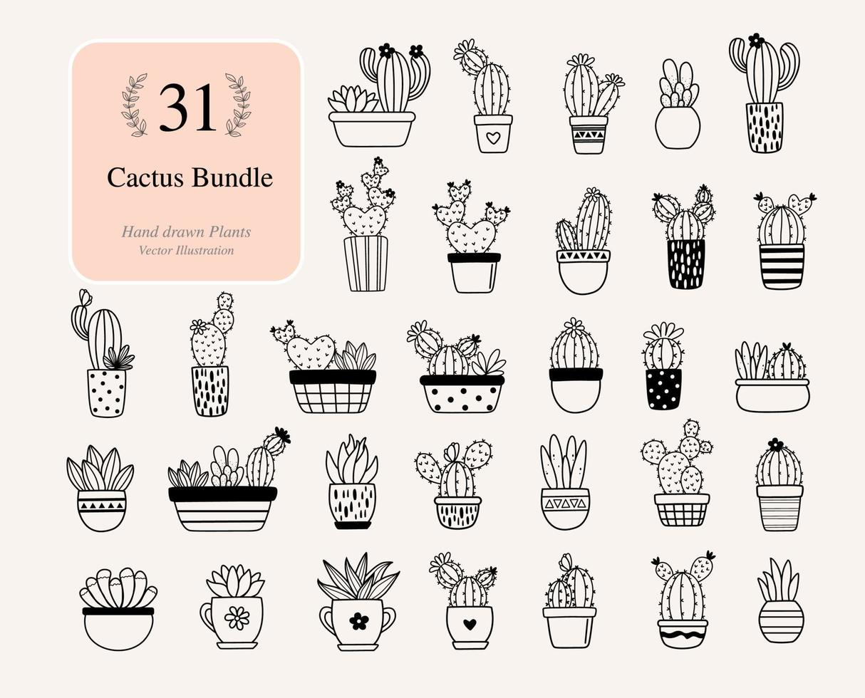 31 cactos. cacto com arquivos de flores para silhueta vetor