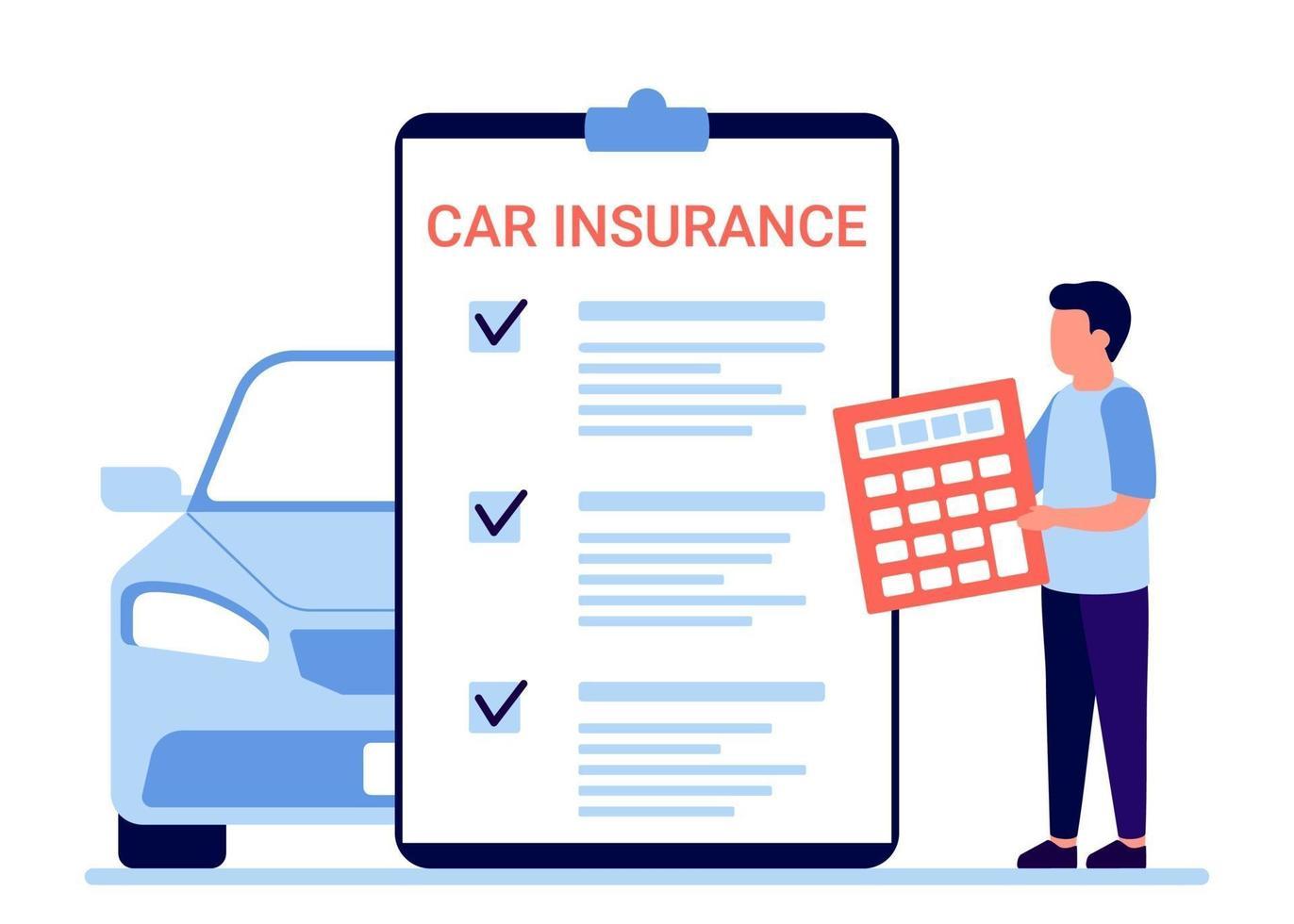 seguro automóvel, documento de reclamação automóvel. conta o formulário de imposto sobre a propriedade do veículo vetor