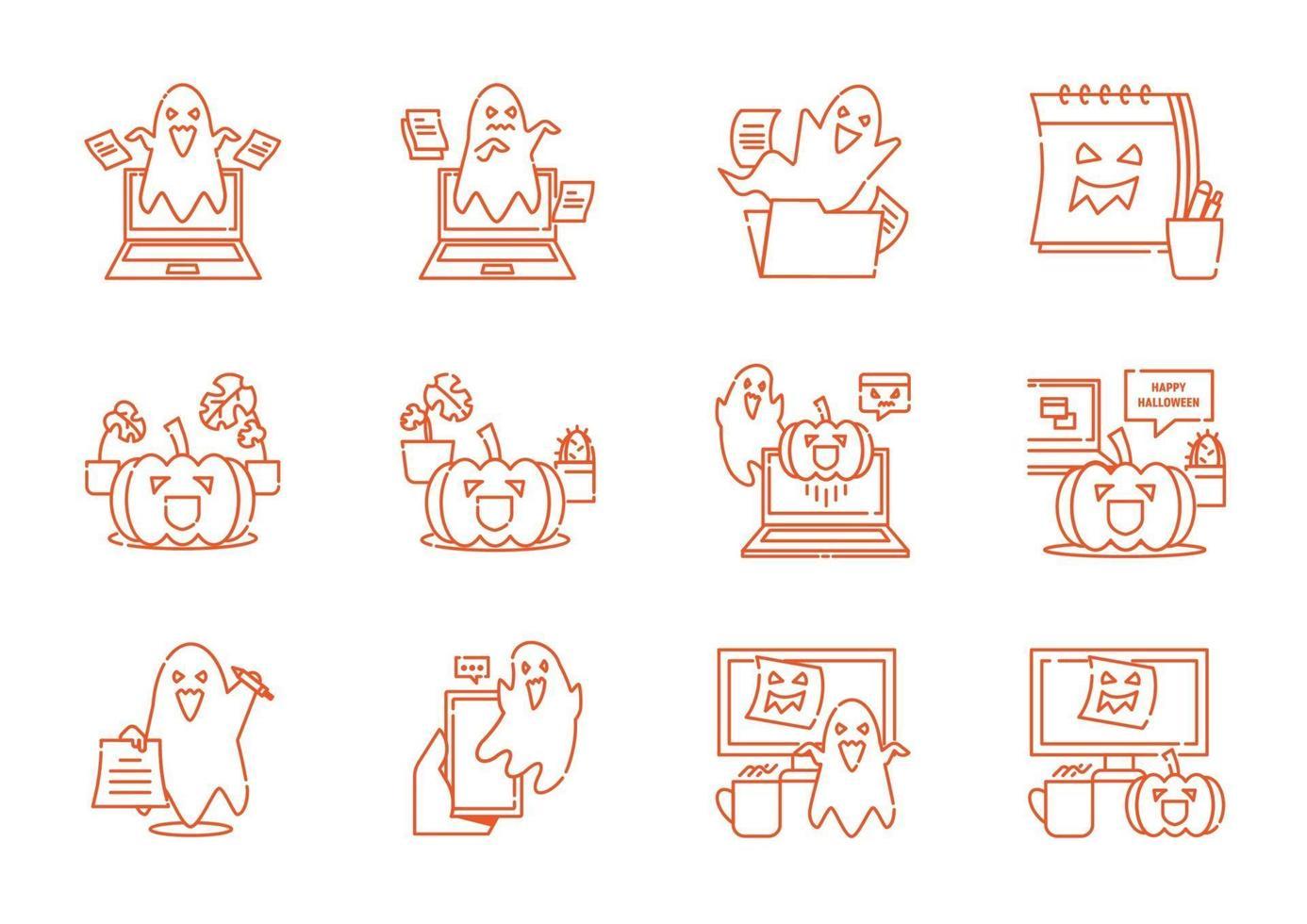 fantasma assustador no conjunto de ícones de linha de espaço de trabalho de escritório vetor