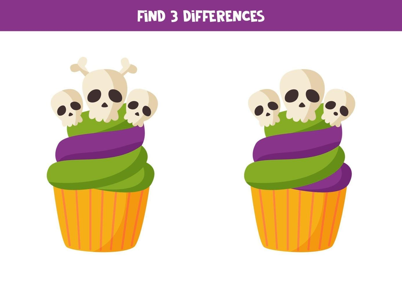 encontre 3 diferenças entre dois cupcakes de halloween. vetor