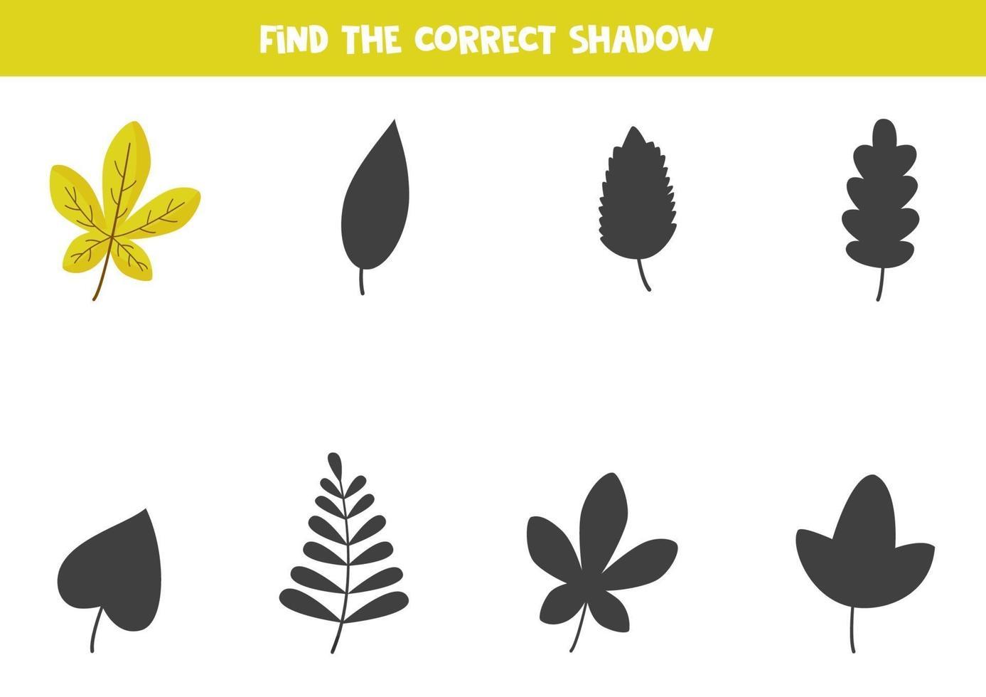 Encontre a sombra correta da linda folha de outono. quebra-cabeça lógico para crianças. vetor