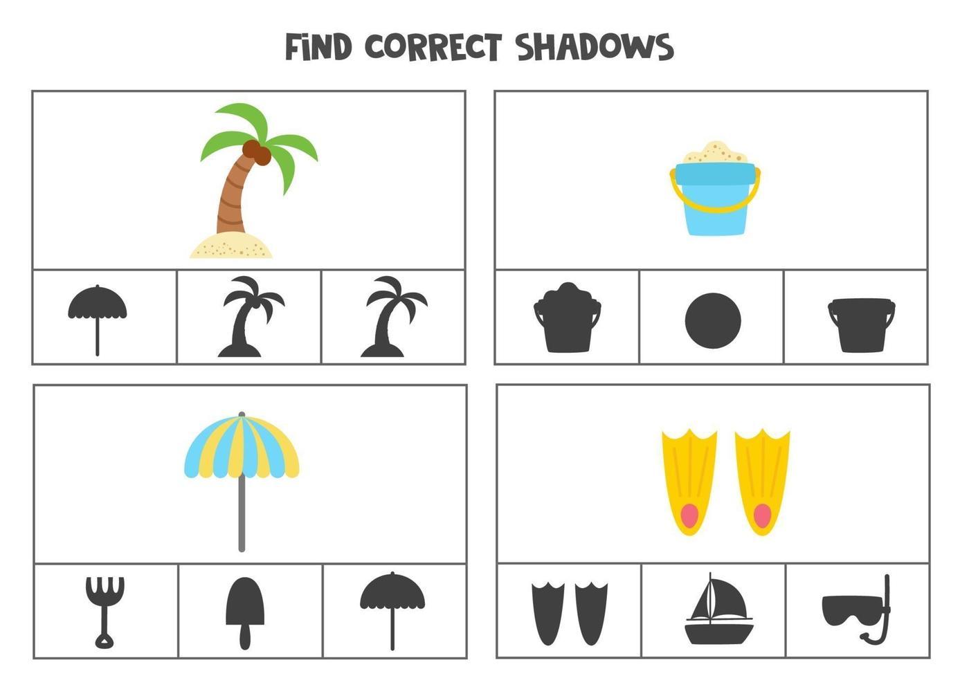 encontrar a sombra correta dos elementos de verão. vetor