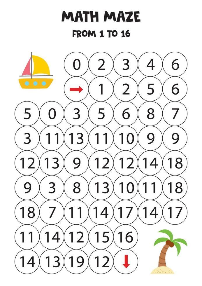 obtenha o iate de verão para a ilha com palmeira contando até 16. vetor