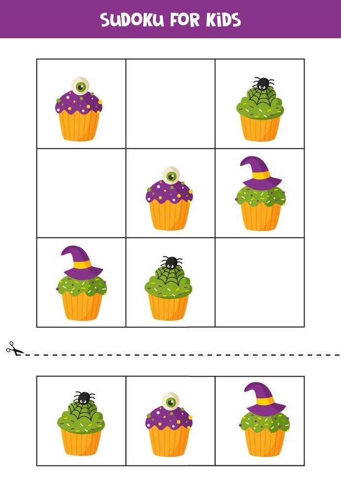 jogo de sudoku para crianças com cupcakes de halloween de desenhos animados. vetor