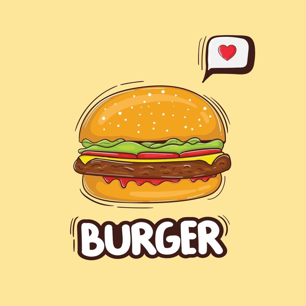 ilustração de hambúrguer de queijo colorido desenhado à mão vetor